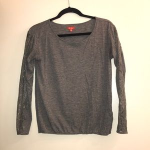 Madewell grey long sleeve tee with lace detail